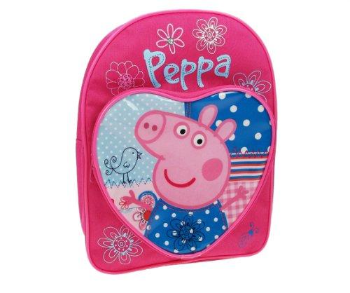 Mochila de Peppa Pig color rosa con diseño de almazuela y correas